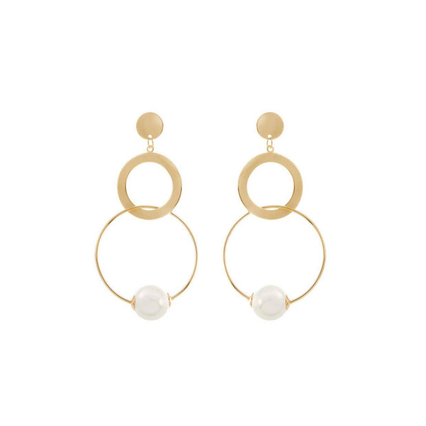 BAILEY - 18K GOLD STATEMENT HOOP PEARL WEDDING EARRINGS