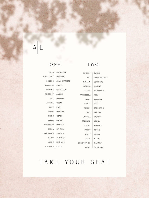 Avoca Seating Chart