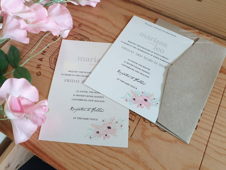 Spring Wedding Invitation Card with Postcard RSVP card