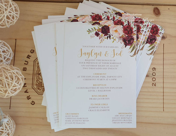 Burgundy Blush Wedding Floral Invitation Card