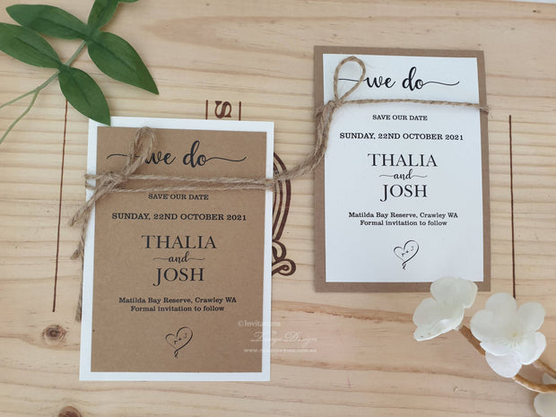 Save the Date Card + BACKING + Twine