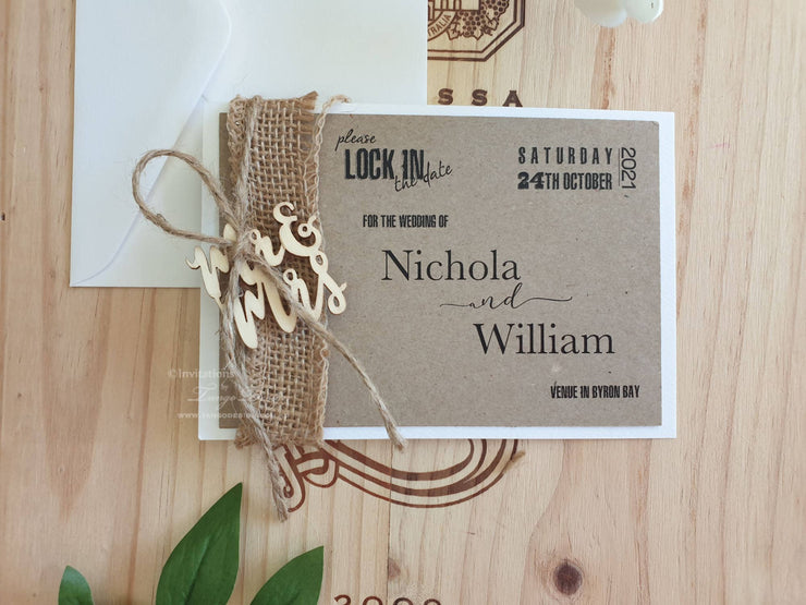 RUSTIC Save the Date Cards