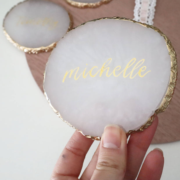 Personalised Resin Gold Rim Coasters - Wedding Place Card, Name Card