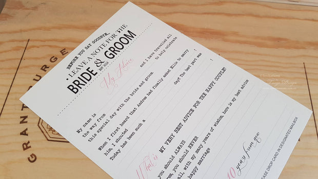 Groom and Bride Guest Memories Advice Card- A5