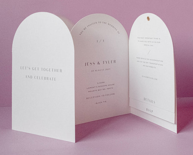 Arch Fold Out Wedding Invitation Suite