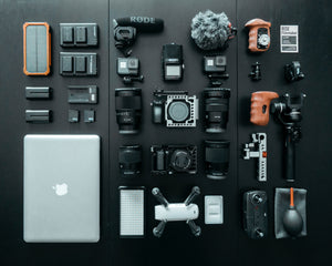 This a is a variety of equipment used by Essex drones, incluing Mac laptops, gimbals, battery packs, mics and multi lenses.