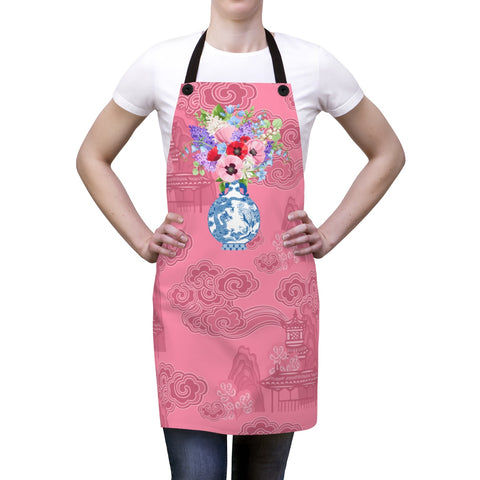 Blush Pink Chinoiserie Dreams Ginger Jar Kitchen Apron