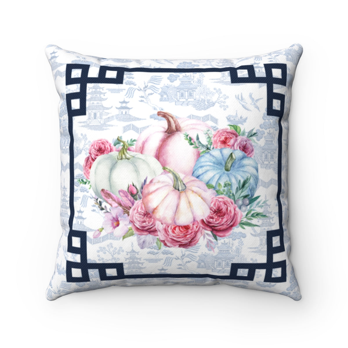 REVERSIBLE: Chinoiserie Blue & White Pumpkin Throw Pillow Cover