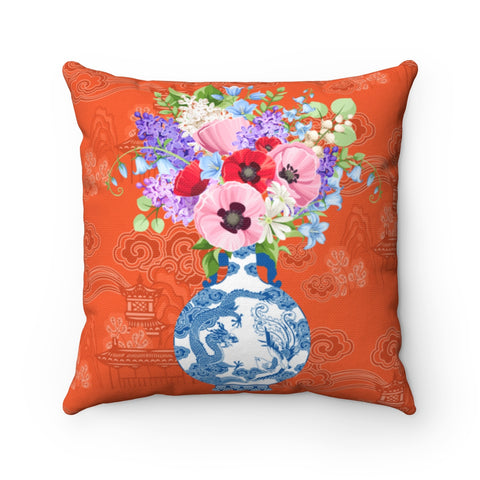 Orange chinoiserie blue and white ginger jar throw pillow cover