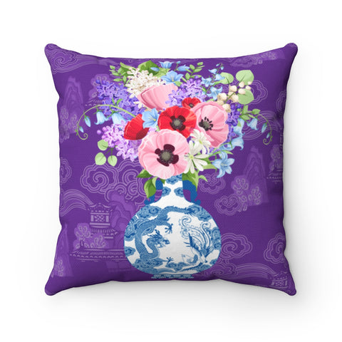 Purple chinoiserie pillow cover with blue and white ginger jar vase and flowers