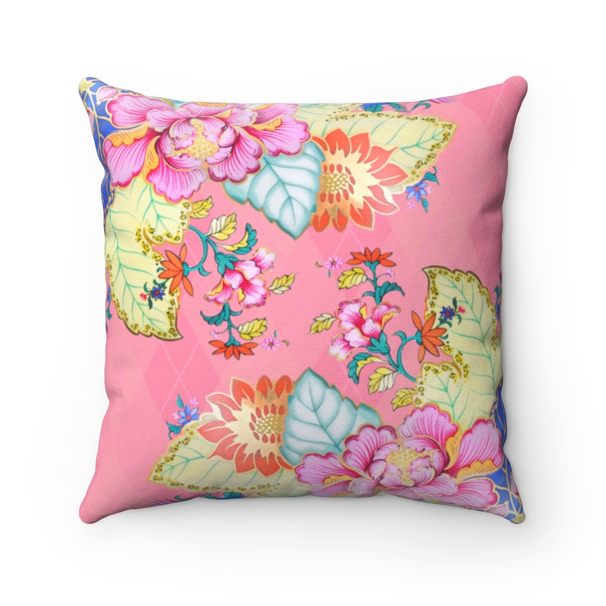 Blush Pink Chinoiserie tobacco leaf china throw pillow cover