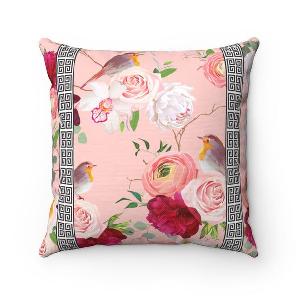 REVERSIBLE: Greek Key Florals & Birds on Blush & Mustard Background Throw Pillow Cover
