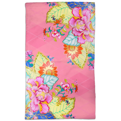 Blush Argyle Tobacco Leaf China Absorbent Hand Towel