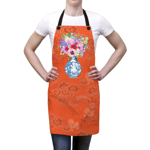 Orange Chinoiserie Dreams Ginger Jar Kitchen Apron