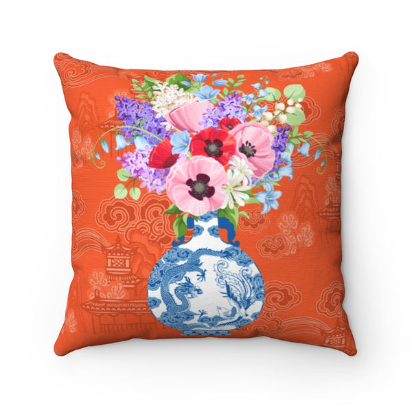 Orange chinoiserie pillow cover with ginger jars and flowers