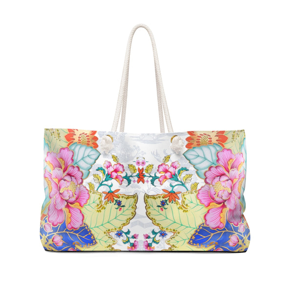 Chinoiserie, floral, blue, white and pink tobacco leaf china weekender gym purse tote bag