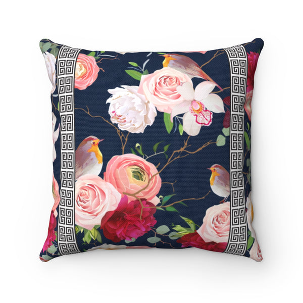 Greek Key Florals & Birds on Navy Blue Background: Throw Pillow Cover