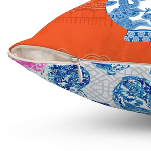REVERSIBLE: Orange Chinoiserie Dreams & Ginger Jars & Peonies Throw Pillow Cover