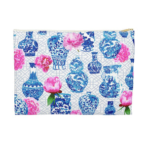 Blue and white ginger makeup bag with pink peonies chinoiserie chic