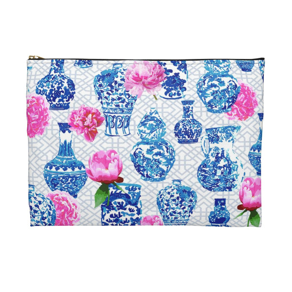 Blue and white ginger cosmetic bag case with pink peonies chinoiserie chic