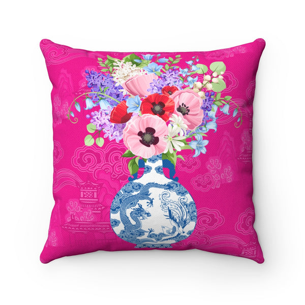 Blue and white china ginger jar throw pillow cover