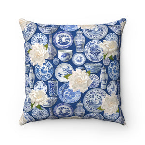Blue & White China Throw Pillow Cover
