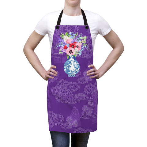 Purple Chinoiserie Dreams Ginger Jar Kitchen Apron