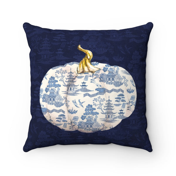 Blue and White Fall Pumpkin Throw Pillow Chinoiserie