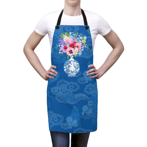 Blue Chinoiserie Dreams Ginger Jar Kitchen Apron