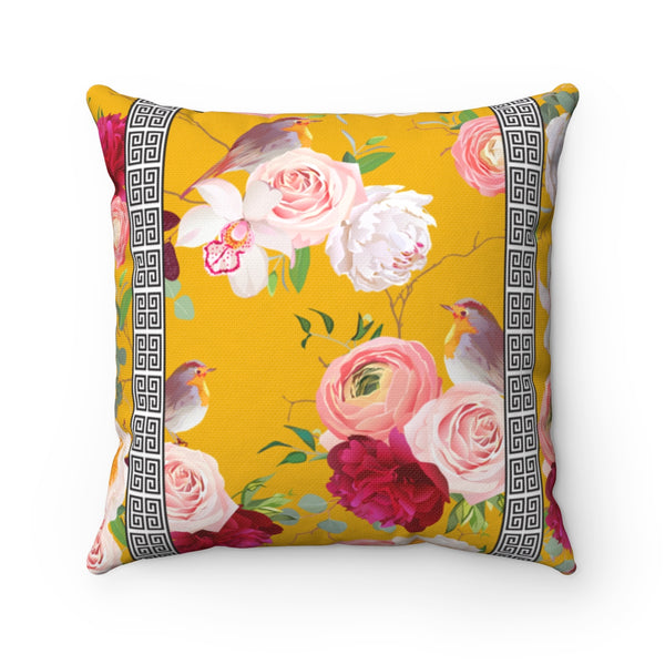 REVERSIBLE: Greek Key Florals & Birds on Mustard & Black Background Throw Pillow Cover