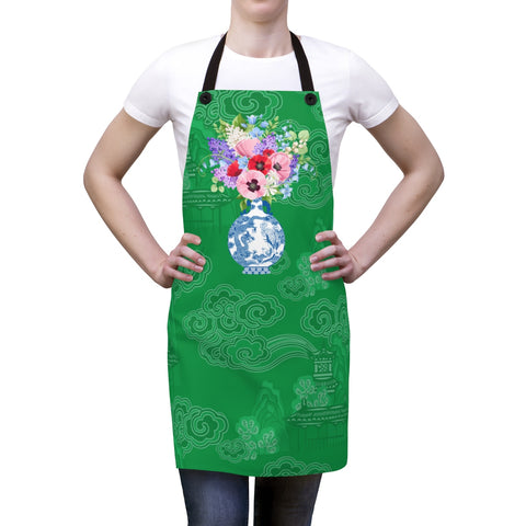 Kelly Green Chinoiserie Dreams Ginger Jar Kitchen Apron
