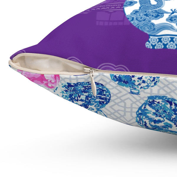 REVERSIBLE: Purple Chinoiserie Dreams & Ginger Jars & Peonies Throw Pillow Cover