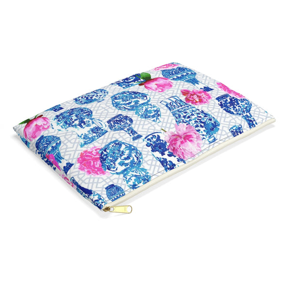 Blue and white ginger pencil case with pink peonies chinoiserie chic