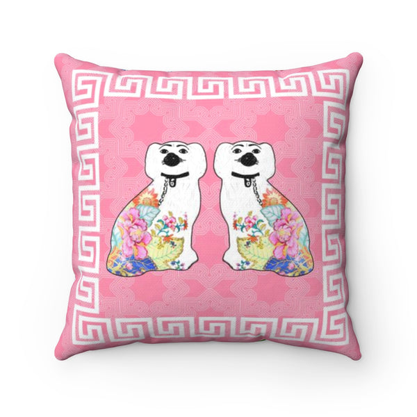 REVERSIBLE: Staffordshire Dog & Ginger Jars & Peonies Throw Pillow Cover