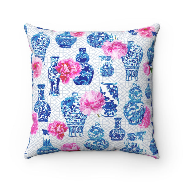 REVERSIBLE: Blush Pink Chinoiserie Dreams & Ginger Jars & Peonies Throw Pillow Cover
