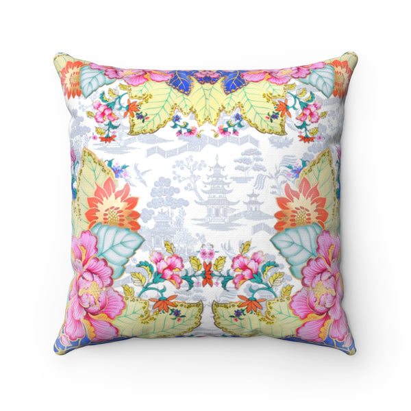 Tobacco leaf china blue and white chinoiserie throw pillow cover