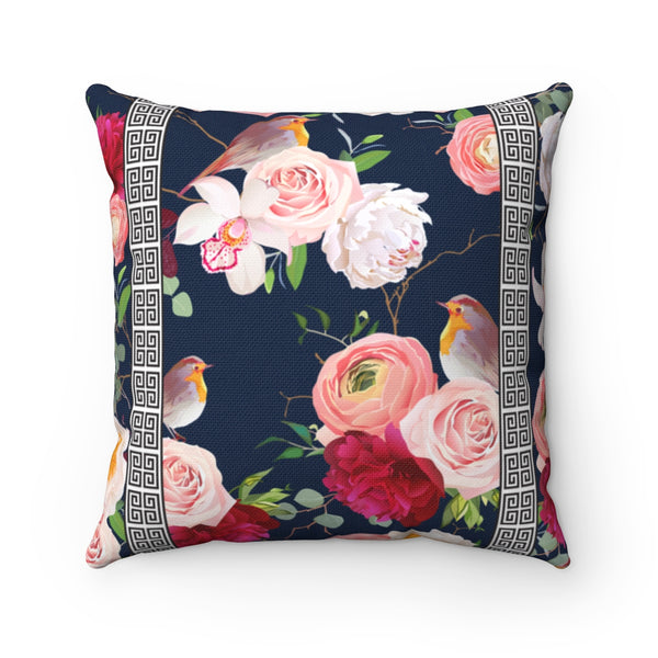 REVERSIBLE: Greek Key Florals & Birds on Blush & Navy Background Throw Pillow Cover