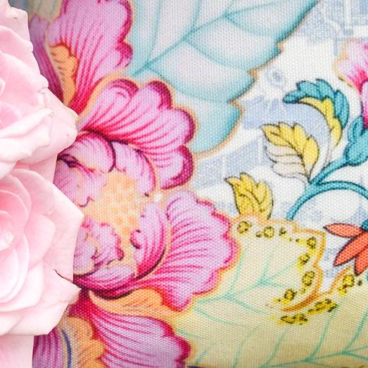 Tobacco leaf pink floral china blue and white chinoiserie throw pillow cover