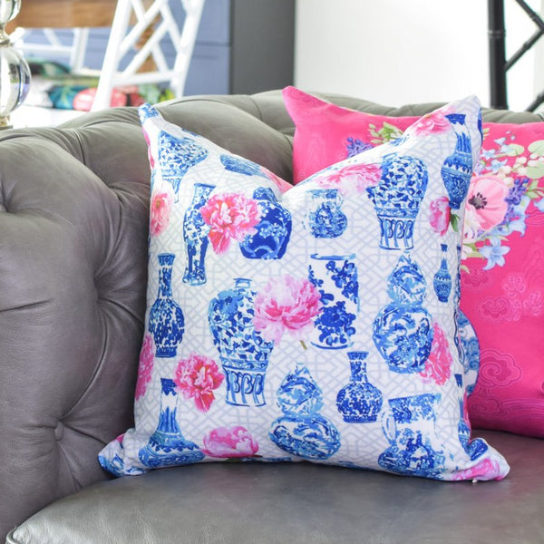 Blue and white china ginger jar throw pillow cover with pink peonies home decor