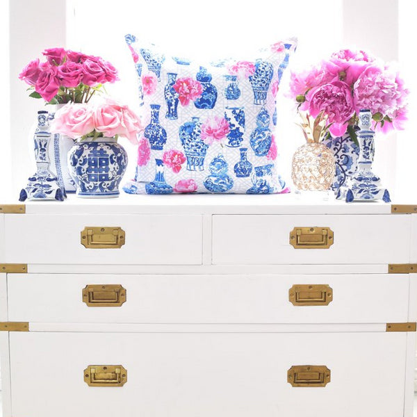 Chinoiserie Blue and white ginger jar throw pillow cover with pink peonies home decor