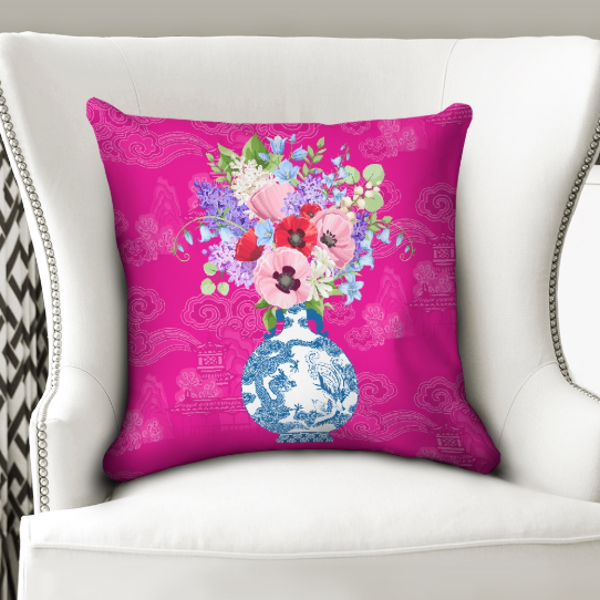 Hot pink chinoiserie throw pillow cover with ginger jar vase and flowers