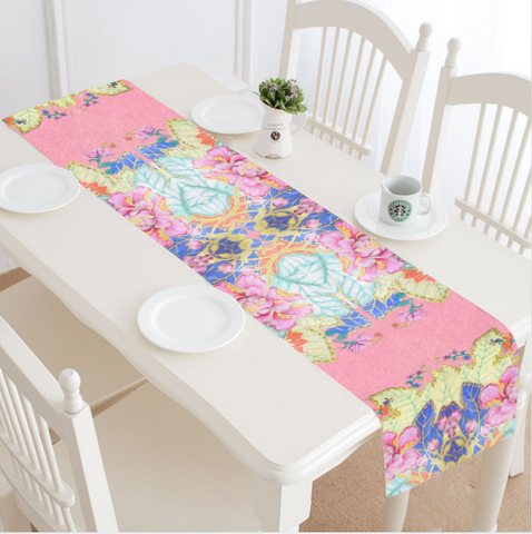 "SPECIAL ORDER ITEM: Blush Argyle Tobacco Leaf China 16""x72"" Table Runner"