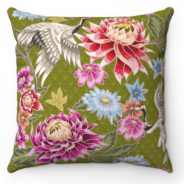 REVERSIBLE: Burnt Orange & Olive Birds & Blooms Throw Pillow Cover