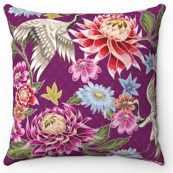 REVERSIBLE: Dark Red & Purple Birds & Blooms Throw Pillow Cover