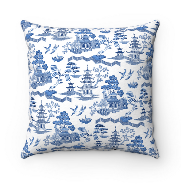 Blue Willow Throw Pillow Cover