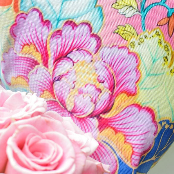 Blush Pink Florals Chinoiserie tobacco leaf china throw pillow cover