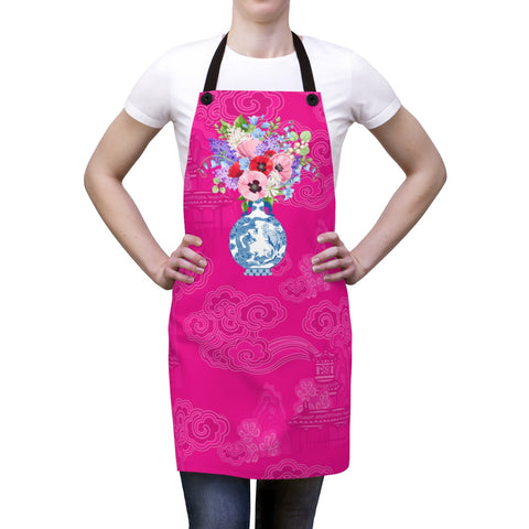 Hot Pink Chinoiserie Dreams Ginger Jar Kitchen Apron