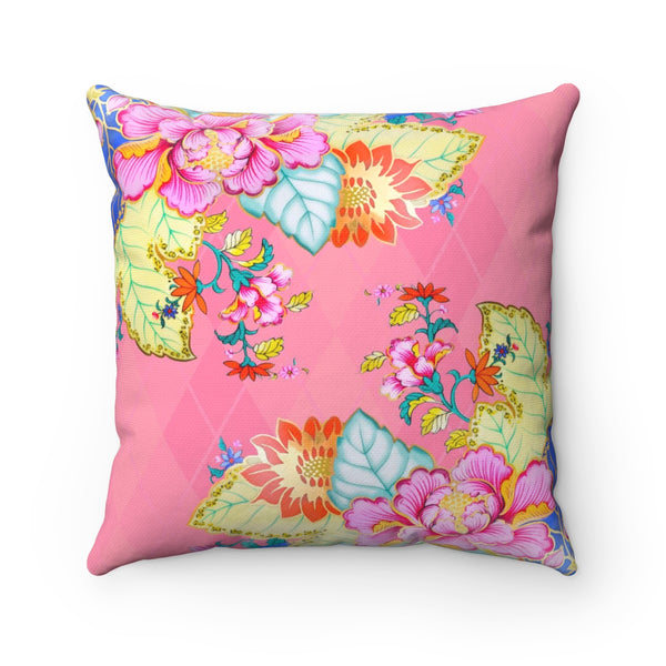 REVERSIBLE: Blush Argyle & Tobacco Leaf China Throw Pillow Cover
