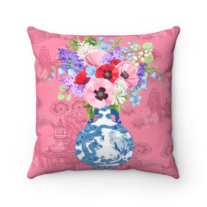 Blush Pink Chinoiserie blue and white ginger jar and flowers throw pillow cover