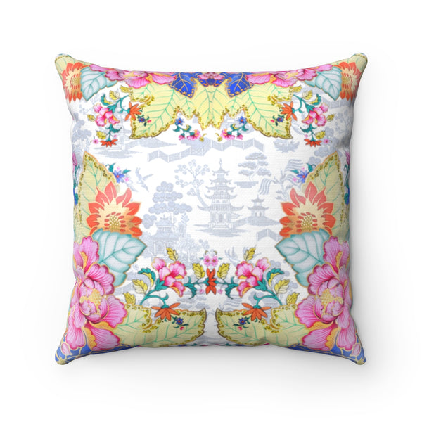 REVERSIBLE: Hot Pink Chinoiserie Dreams & Tobacco Leaf China Throw Pillow Cover